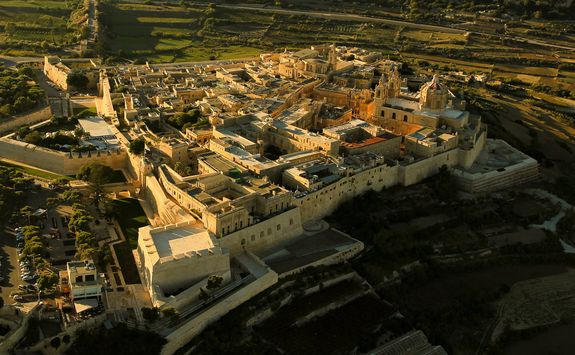 an aerial view of Mdina's walled city