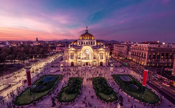 mexico city's palacio de bellas artes at night