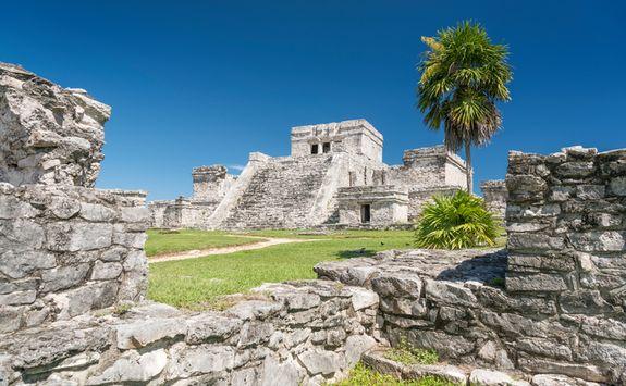 tulum's mayan ruins in the sunshine