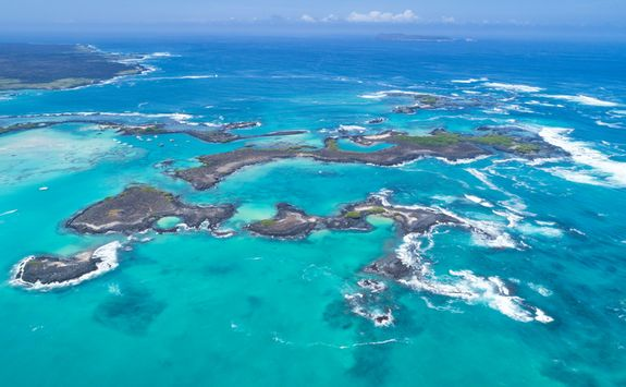 An aerial view of the Galapagos Islands