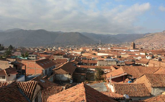 Sunlight on the rooftops in Cusco