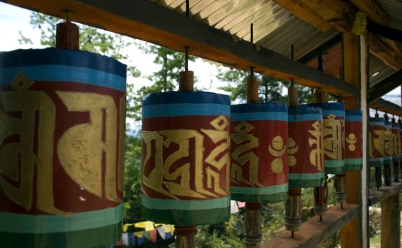 Prayer wheels at Takshang Goemba