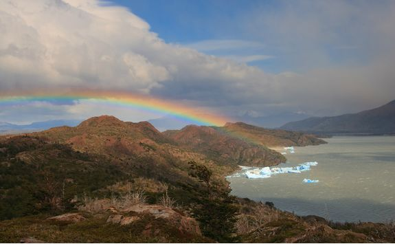 Rainbow above a Glacier