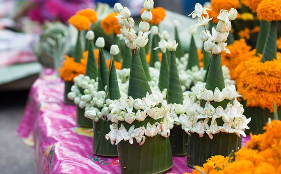 Floral offering in Laos