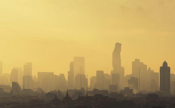 smoggy Bangkok skyscrapers