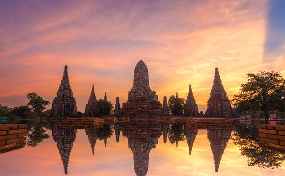 Ayutthaya temple at sunset