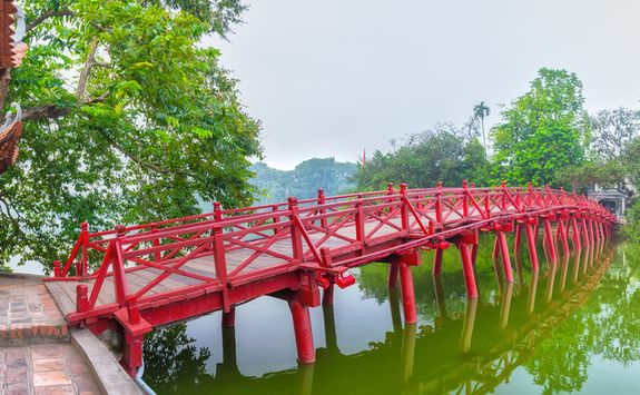 huc bridge in Hanoi