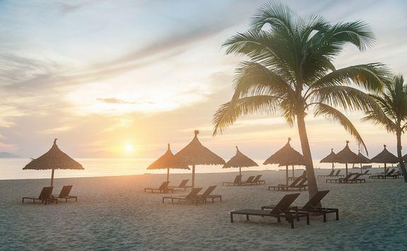 Sunset on the beach in Hoi An
