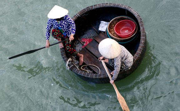 Basket boat in Vietnam