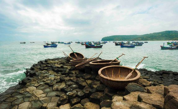 Traditional coracles in Nha Trang