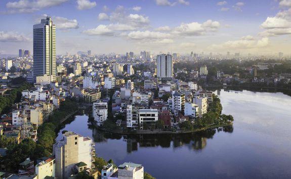 Hanoi skyline in Vietnam