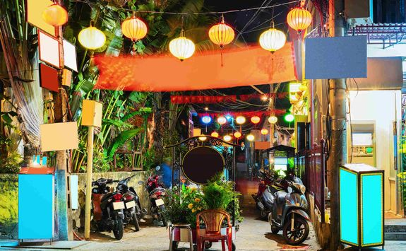 Street in the evening in Hoi An