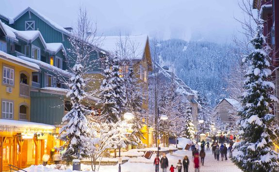 Whistler village in snow