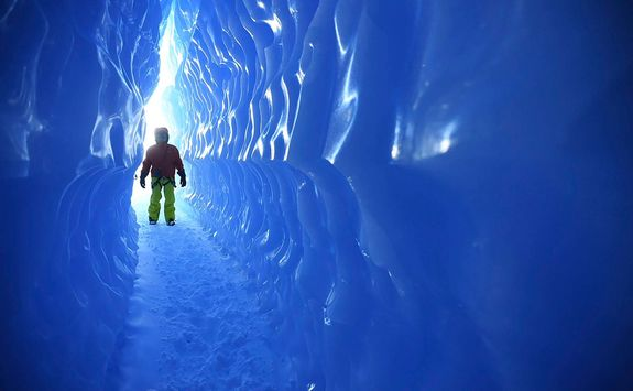 walking through ice tunnels