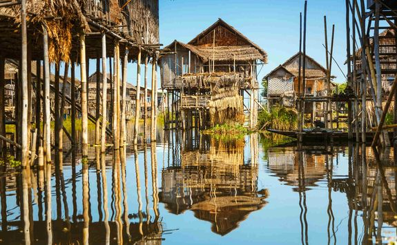 Wooden stilt houses on Lake Inle