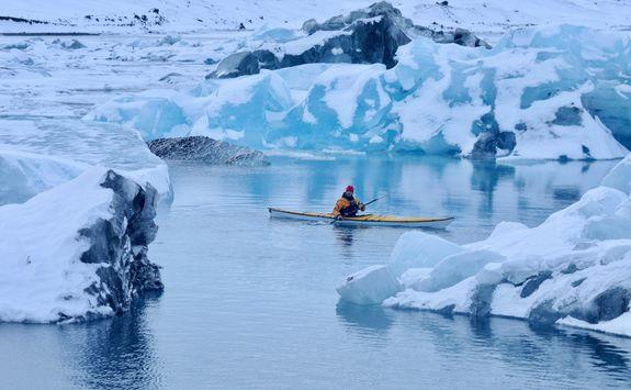 Kayaking through ice