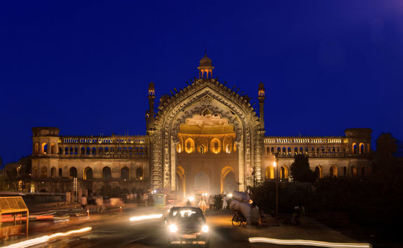 Rumi Gate at night, Lucknow