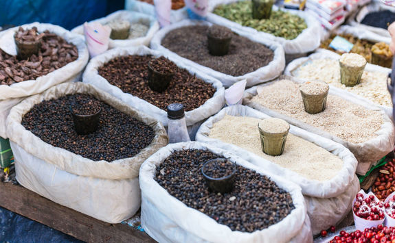 Street market selling cereals, Darjeeling