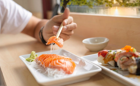 Salmon sashimi dish