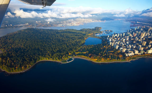 Aerial shot of Vancouver from a float plane