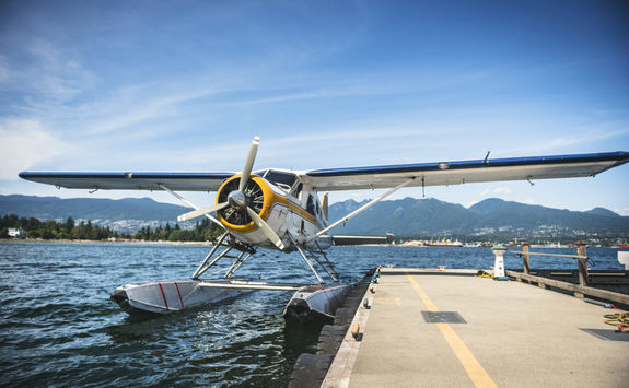 Float plane docked on the water