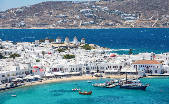 Aerial shot of Mykonos town