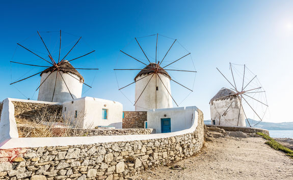Windmills in the main town of Mykonos