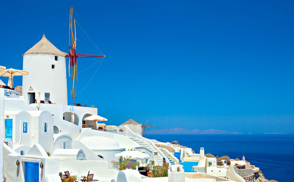 Oia town with windmill