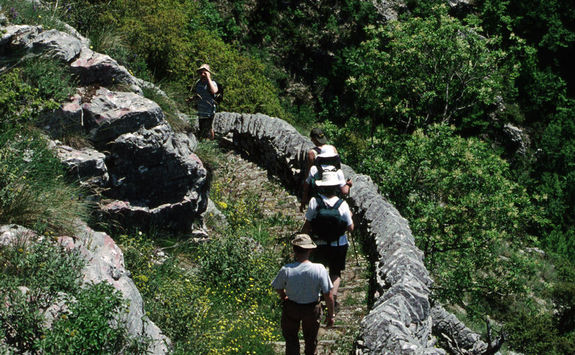 Hiking on a path in the Vikos Gorge