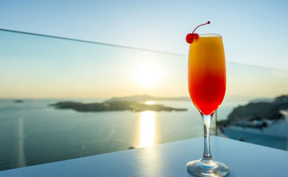 Cocktails at sunset in Greece