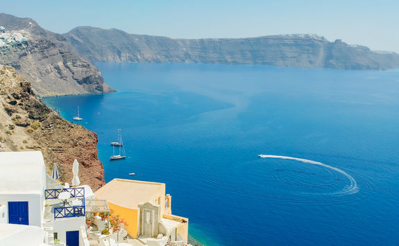 Sea view from buildings in Santorini