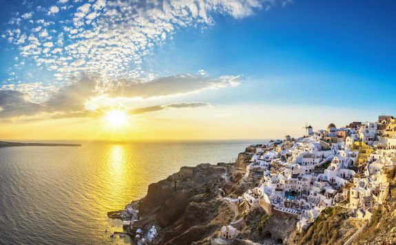 Sun setting over Oia