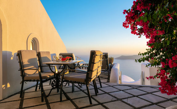 Dinner setup on a patio in Santorini