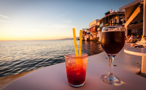 Cocktails at sunset in Mykonos