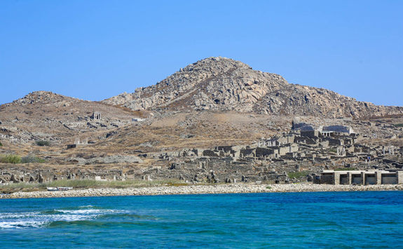 View of the Delos ruins from the sea