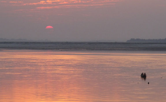 Sunset over the Chindwin River in Myanmar