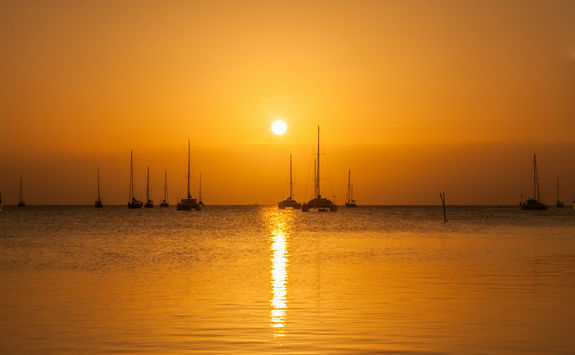 Catamaran at sunset