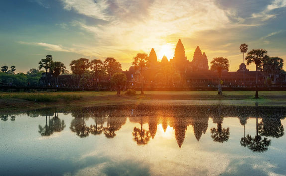 Tower Angkor Wat under the sunset