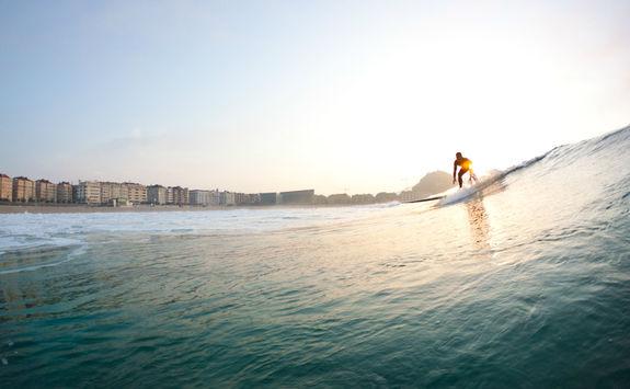 Surfing in San Sebastian