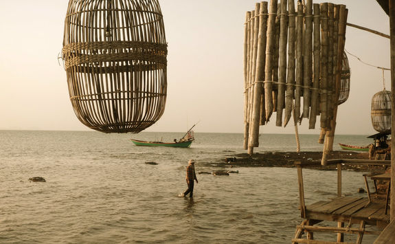 Wooden fishing traps for crabs