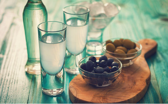Ouzo and olives