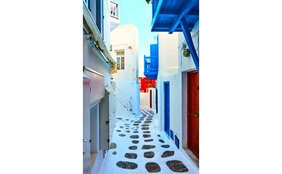 Mykonos colourful street