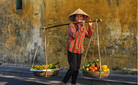 vietnamese woman selling tropicals fruits