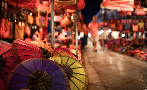 lao umbrellas on a night market