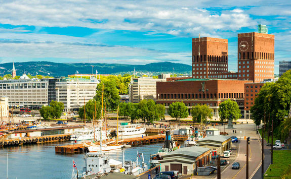 Oslo harbour and the City Hall