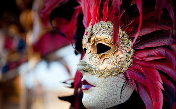venetian red carnival mask venice