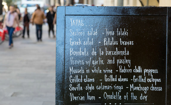 Tapas menu on a little street