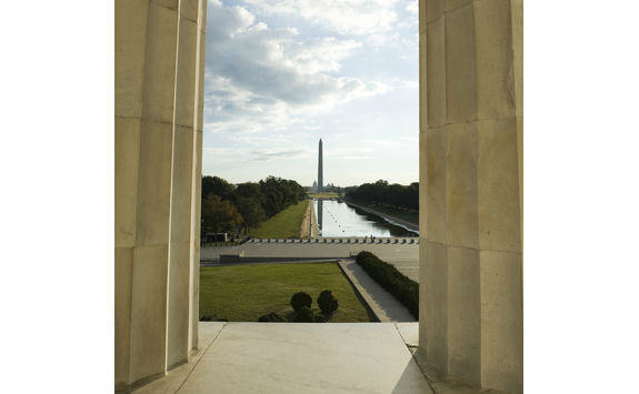 Washington and capitol seen from the Lincoln Memorial