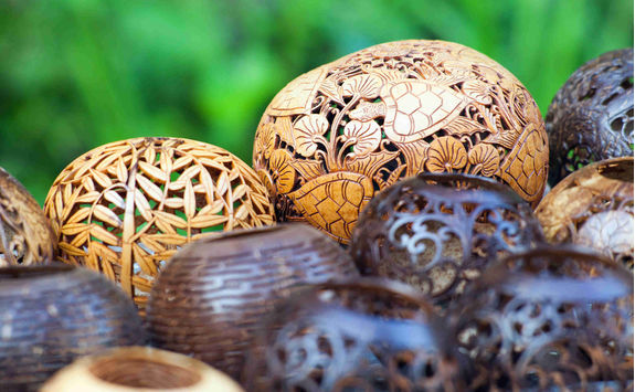 lamps carved from a coconut tree