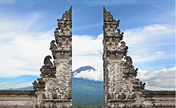 symbol bali hindu temple on agung volcano background